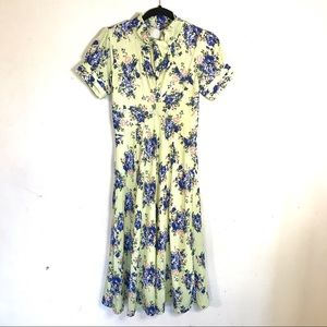 Lindy Bop Retro 50s Inspired Yellow Floral Dress